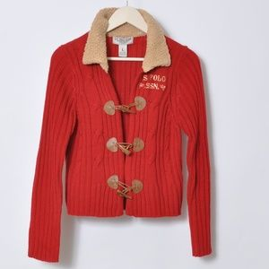 U.S.POLO ASSN RED CABLE & SHEPA CARDIGAN